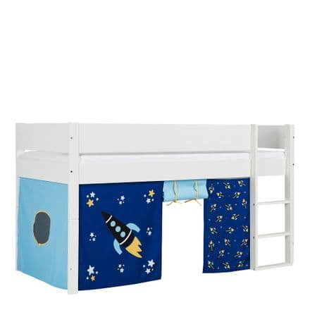 Huxie White Mid Sleeper with Safety Rail in White and Blue Rocket Play Curtains
